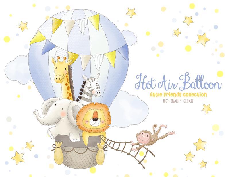 Hot Air Balloon Animals Clipart Boy Watercolor Graphic Design Etsy Hot Air Balloon Clipart Balloon Clipart Balloon Animals