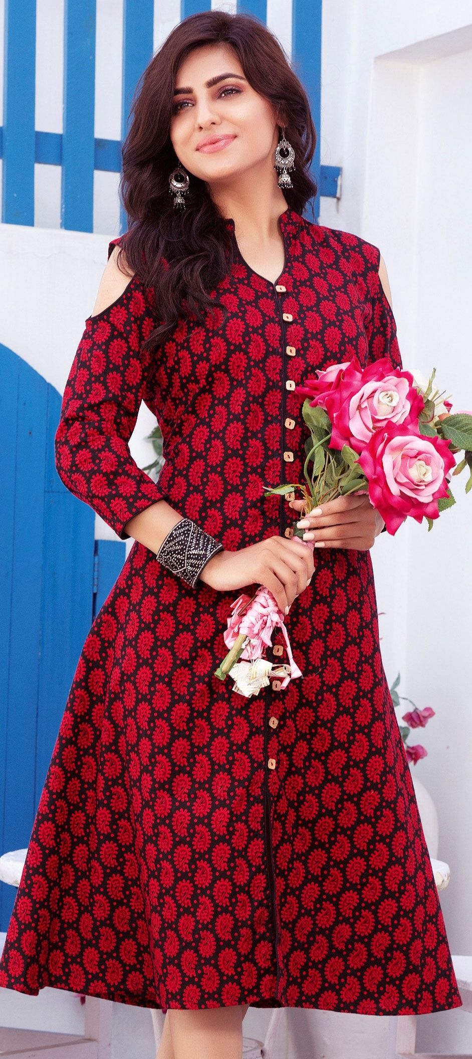 black and grey red and maroon color family printed kurtis in