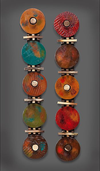 5 Circle Modern - Teal and Red by Rhonda Cearlock: Ceramic Wall Art available at www.artfulhome.com
