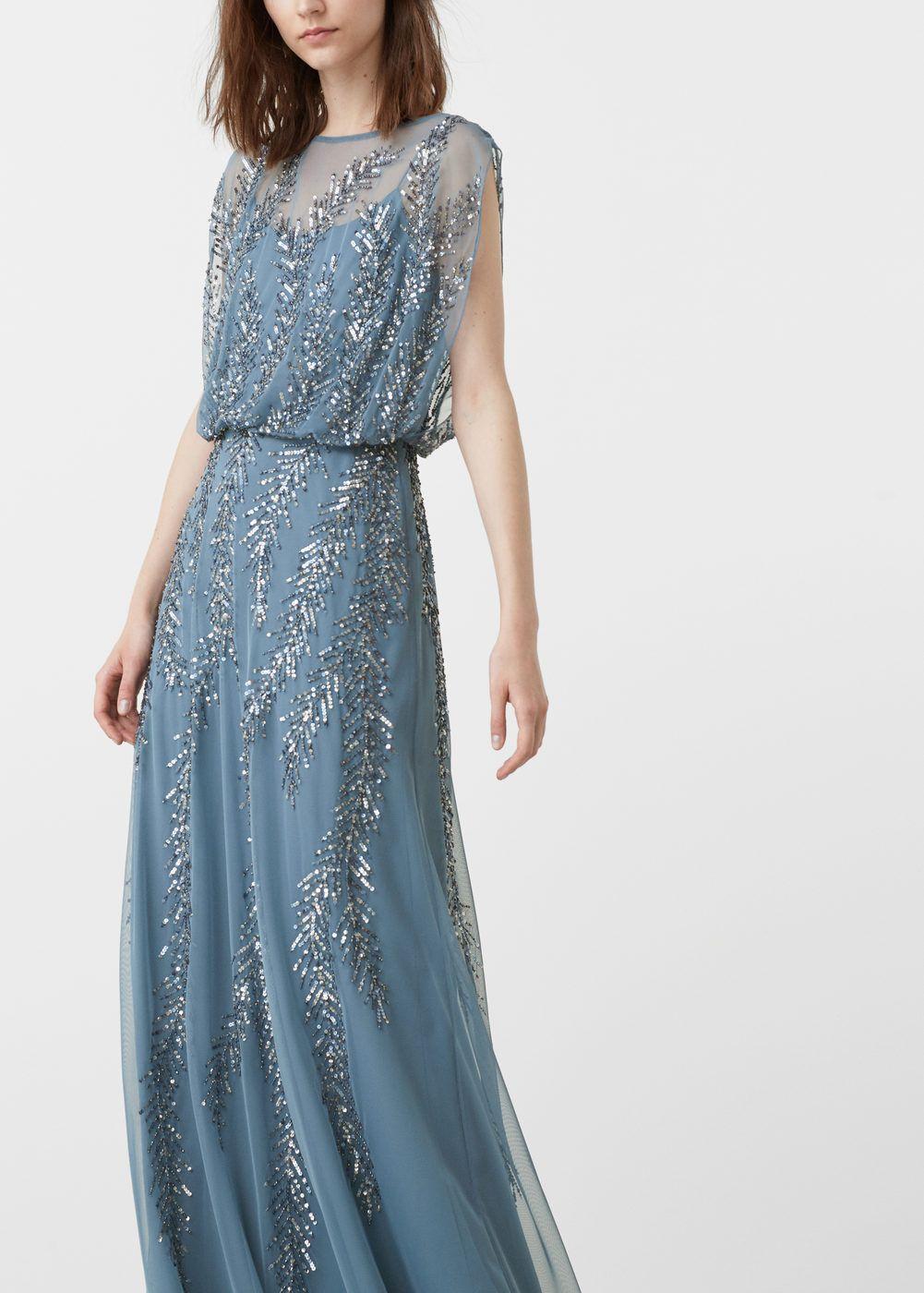 robe longue bleue brodé mango