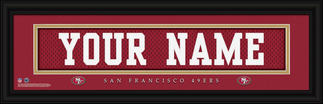 San Francisco 49ers NFL football jersey print framed to look like a real  jersey shadow box frame in 3D with embroidered name. Team name e4f1c47db