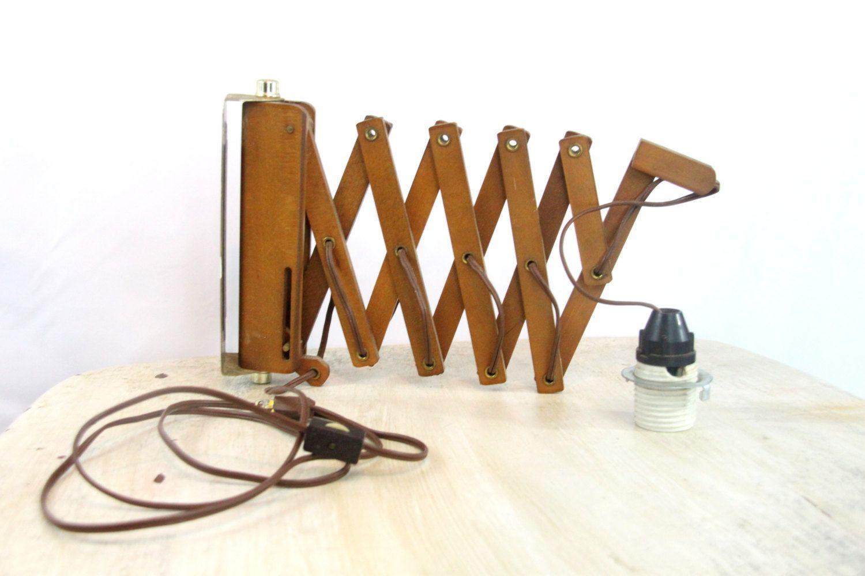 Teak Scissor Wall Lamp, Accordion Pendant Light, $120.00 Swing Arm Light,  Wooden Light