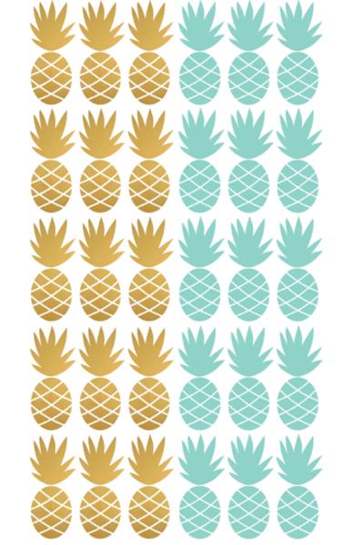 761778e252e2b8 PÖM le Bonhomme Pineapple Wall Stickers - Gold + Mint   Pineapple ...