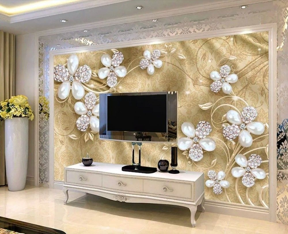 Best Crystal Daisy Floral Wallpaper Mural Tv Wall Decor Tv 400 x 300