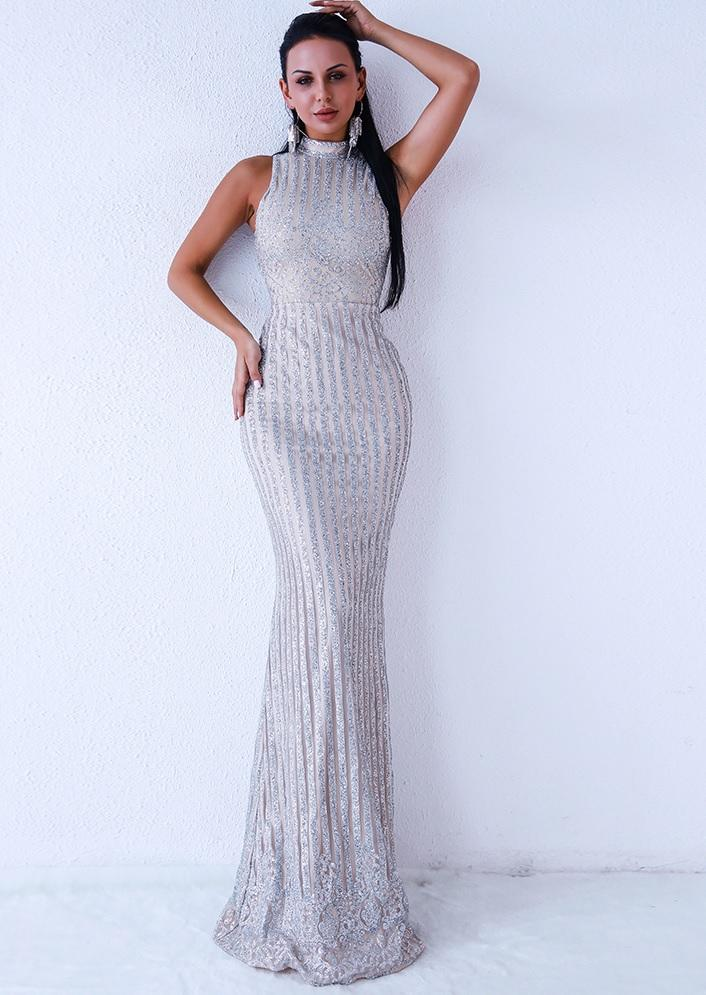 f73704a8c342 Silver Sleeveless Evening Gown in 2019