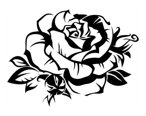 Black And White Rose Floral Flower Beautiful Love Beauty Romance Svg Eps Png Vector Space Clipart Roses Drawing Flower Drawing Tribal Wolf Tattoo