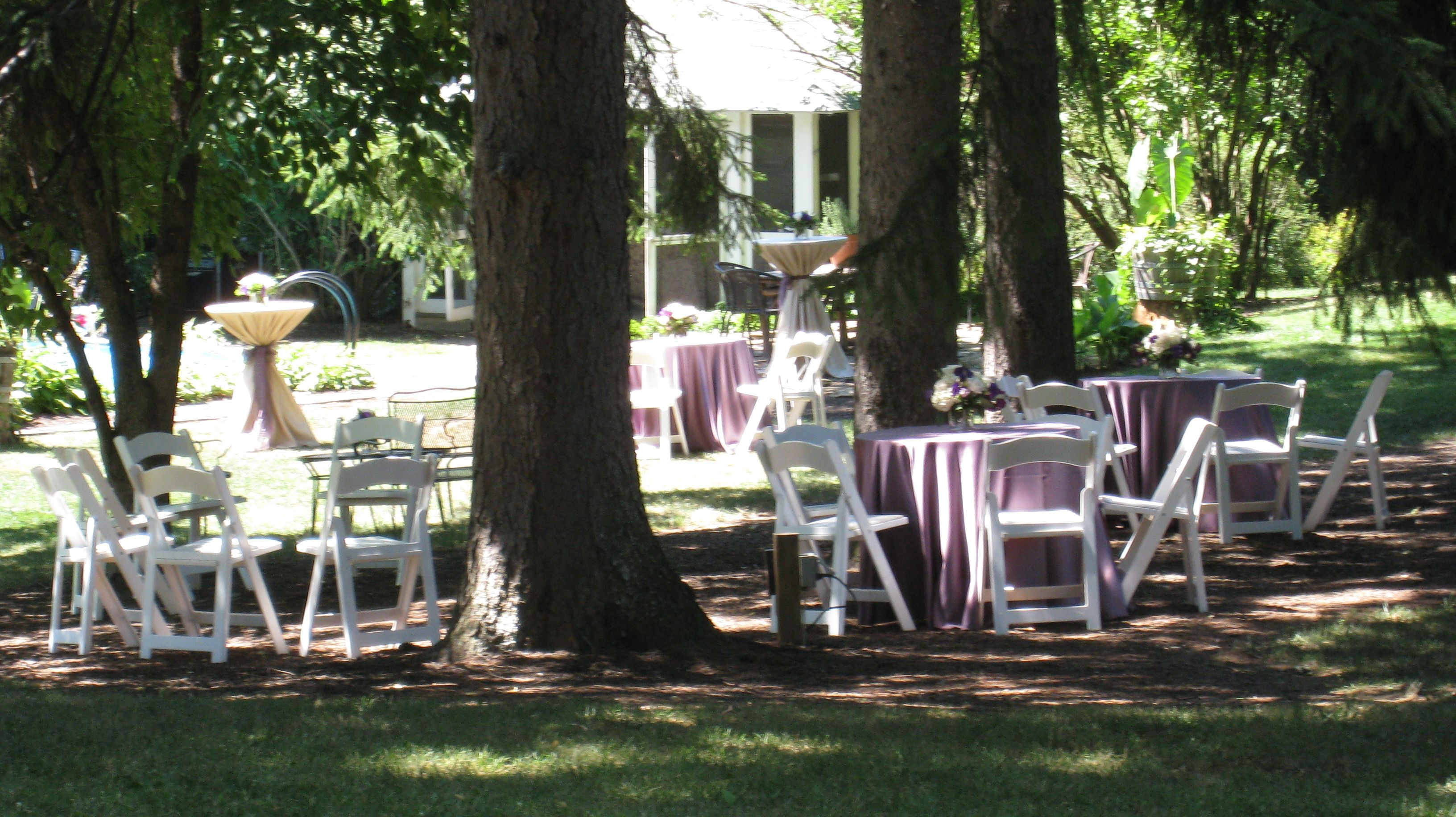 Tables nestled among the pines at Stirling Guest Hotel