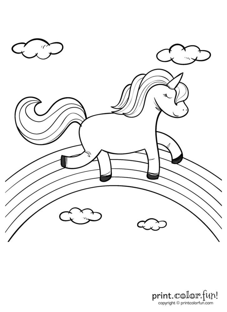 Happy Unicorn Over The Rainbow Birthday Coloring Pages Unicorn Coloring Pages Rainbow Pages