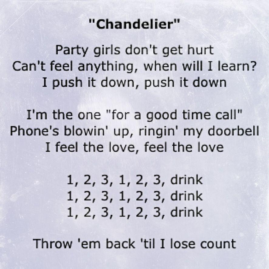 1 2 3 Drink Chandelier Sia