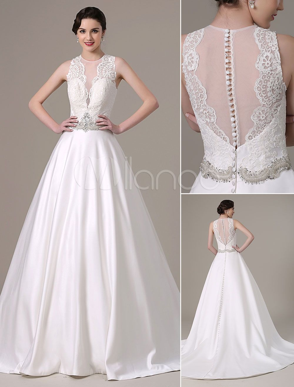 Lace ball gown wedding dresses   Satin And Lace Ball Gown Wedding Dress Pleated Sheer Bodice And