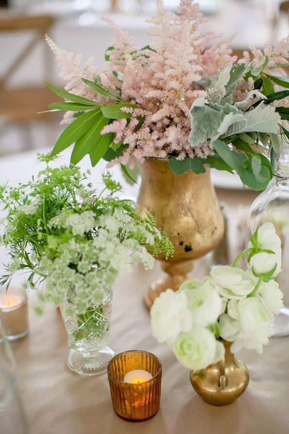 Blush Astilbe Bridal Bouquet with White Ribbon