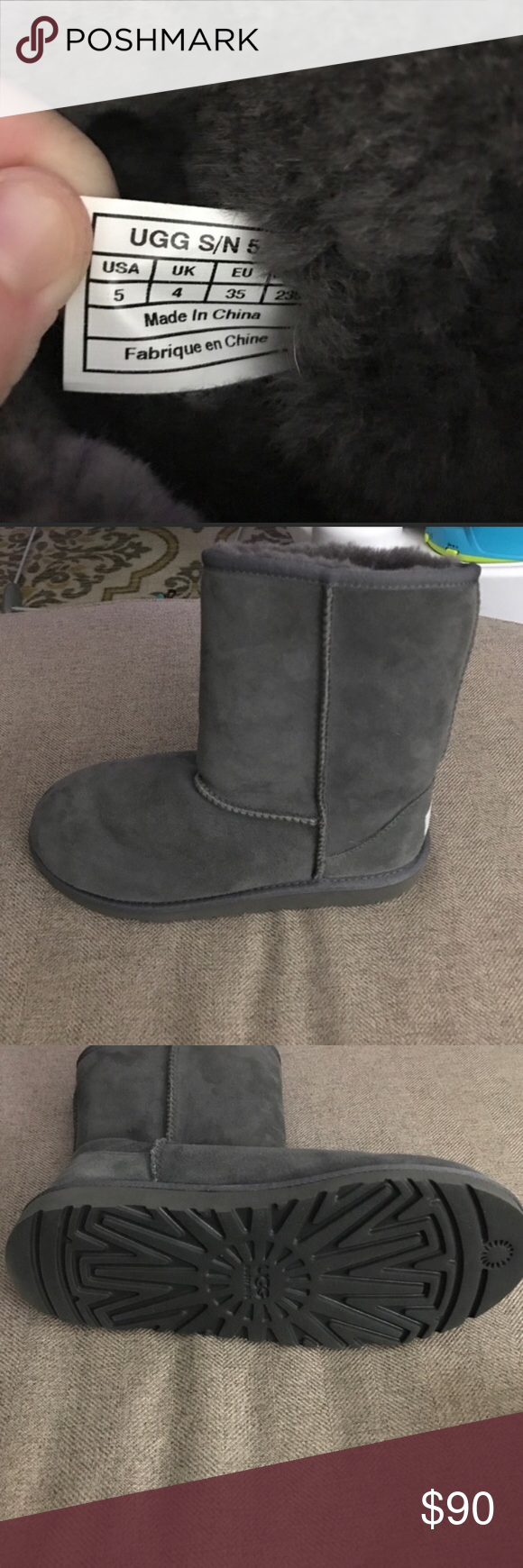 2382ca97859 Gray short uggs Kids size 5 fits womens 6.5-7 Wore it once No box In ...