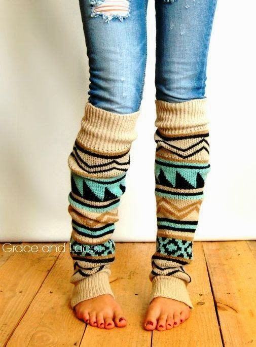 Aztec leg warmers, Grace and lace