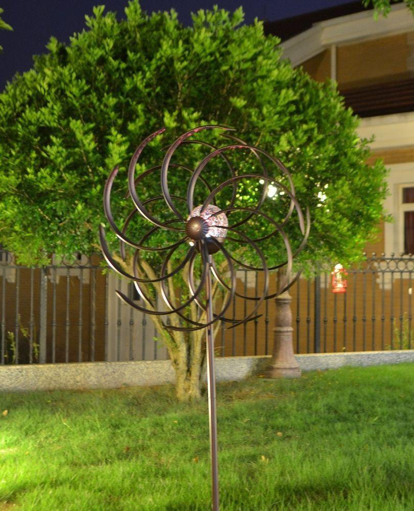Solar Wind Spinner LED Light Steel Kinetic Outdoor Yard Garden Stake ...