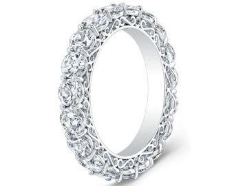 Ladies Platinum diamond eternity infinity wedding band 2.00 ctw G ...