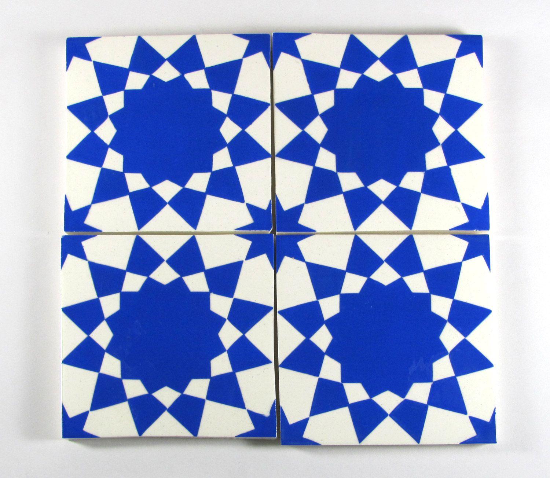 Hand Painted Moroccan Tiles   Blue And White Ceramic Tiles   Decorative  Tiles   Backsplash Tiles   Kitchen Tiles   Bathroom Tiles  Coasters