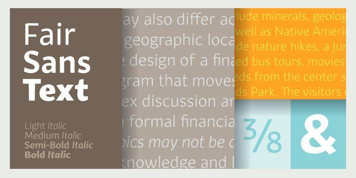 Fair Sans Text - Webfont & Desktop font by Galen Lawson (2013) #grafica #tipografia #colori