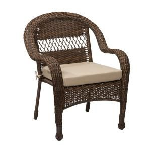 Hampton Bay Mix And Match Brown Wicker Outdoor Stack Chair With Beige  Cushion 65 51686B
