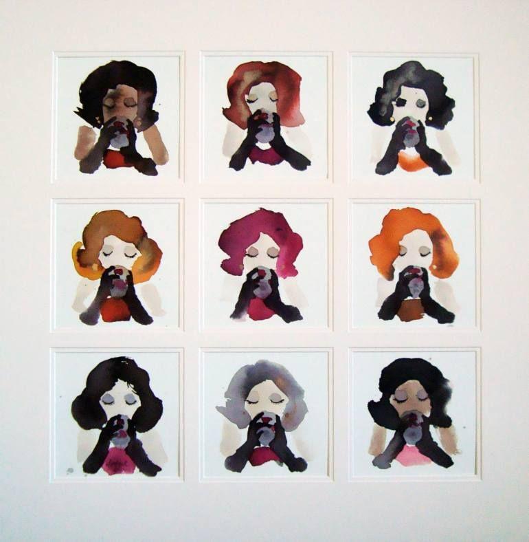 "Saatchi Art Artist Bridget Davies; Painting, ""She just Loved her Red Wine"" #art"