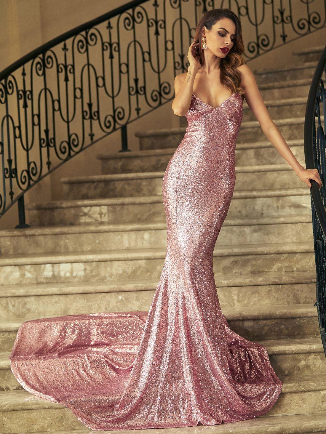 58d6981ff4 Shop Pink Crisscross Back Fishtail Sequin Dress online. SheIn offers Pink  Crisscross Back Fishtail Sequin Dress & more to fit your fashionable needs.
