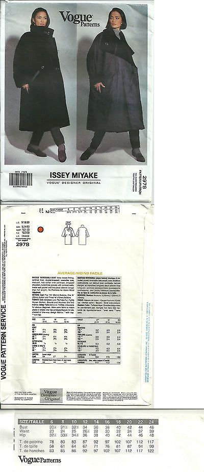 Sewing Patterns 28174: Vogue 2978 Designer Issey Miyake Reversible ...