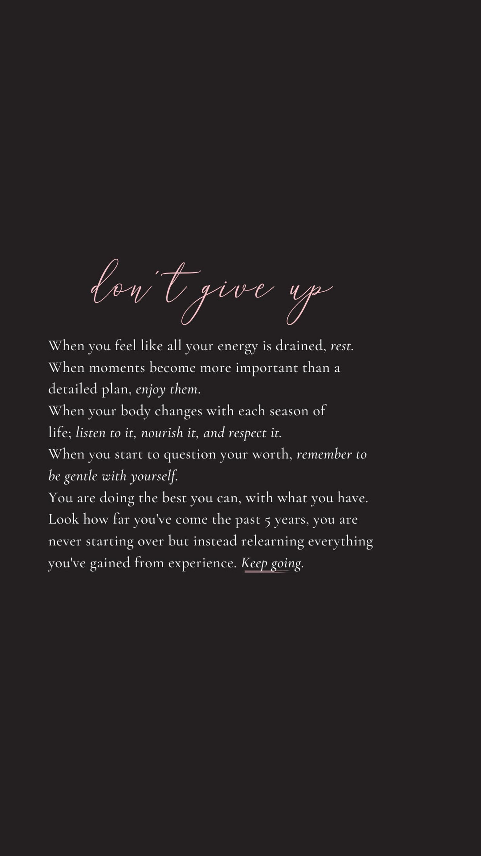 Don't Give up Quote by Tiffany Moule