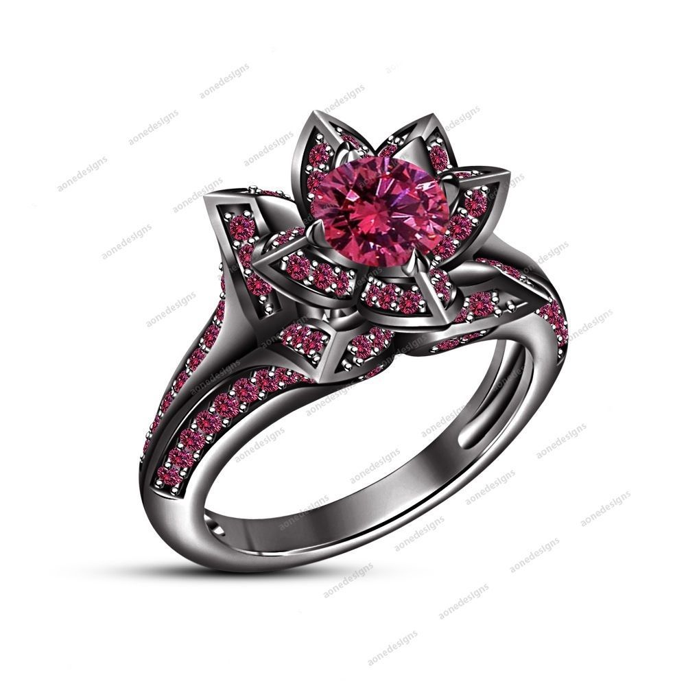 14K Black Gold Finish 925 Silver Rd Pink Sapphire Flower Ladies Engagement Ring #aonedesigns #SolitairewithAccents