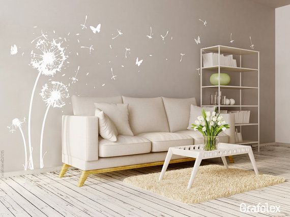 Wall sticker flower   22 flight seeds   6 butterflies   dandelion     Wandtattoo Pusteblume 22 Flugsamen 6 Schmetterlinge von Grafolex