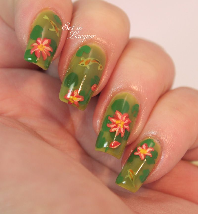 Pond nail art - complete with Koi and lilies | Nails | Pinterest ...