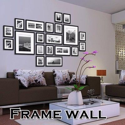 20pcs Black Picture Photo Frames Wall Set Home Office Wall Creative