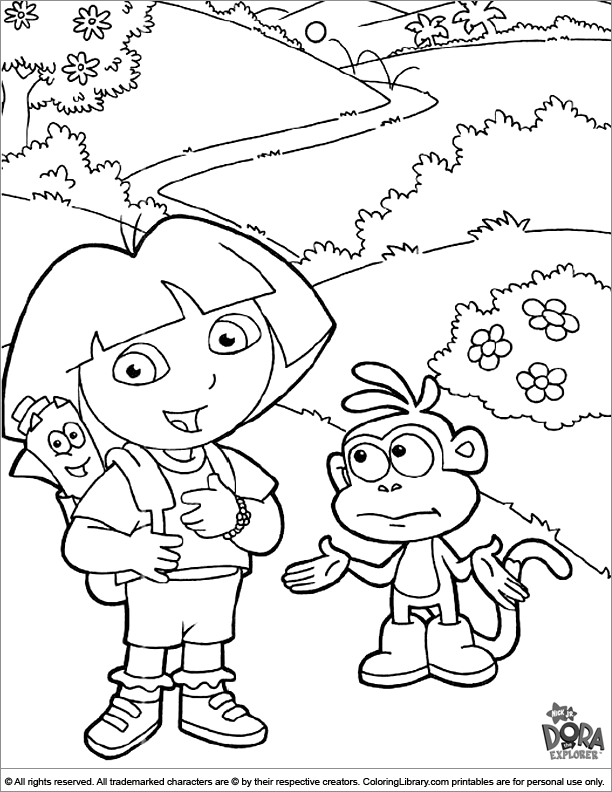 Dora the Explorer coloring printable for kids with a cute
