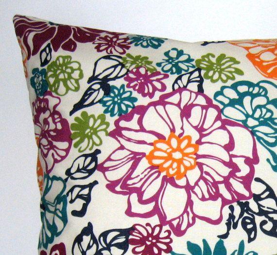 Spring Summer Garden Pillow Cover Floral Pillow Cover Throw