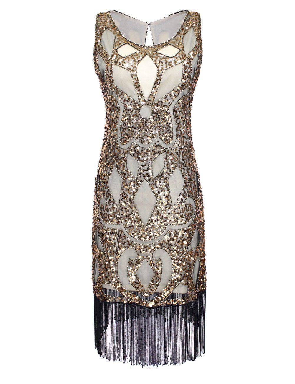 PrettyGuide Damen 1920 Sequin Art Deco Hohl Paisley Tribe Cocktail ...