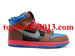 new arrival 23ce2 18758 Cheap Brown Blue Grey Red High Top Nike Dunk Free Shipping
