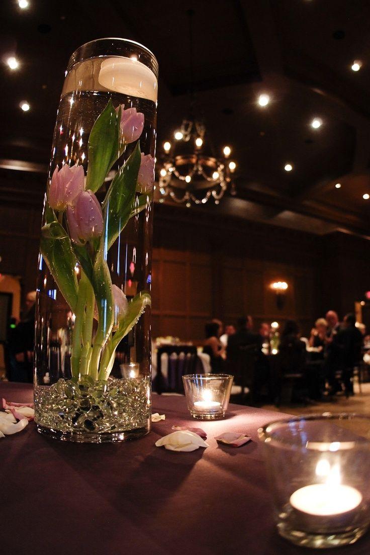 Pink Tulips Submerged In Water Wedding Centerpiece More Wedding