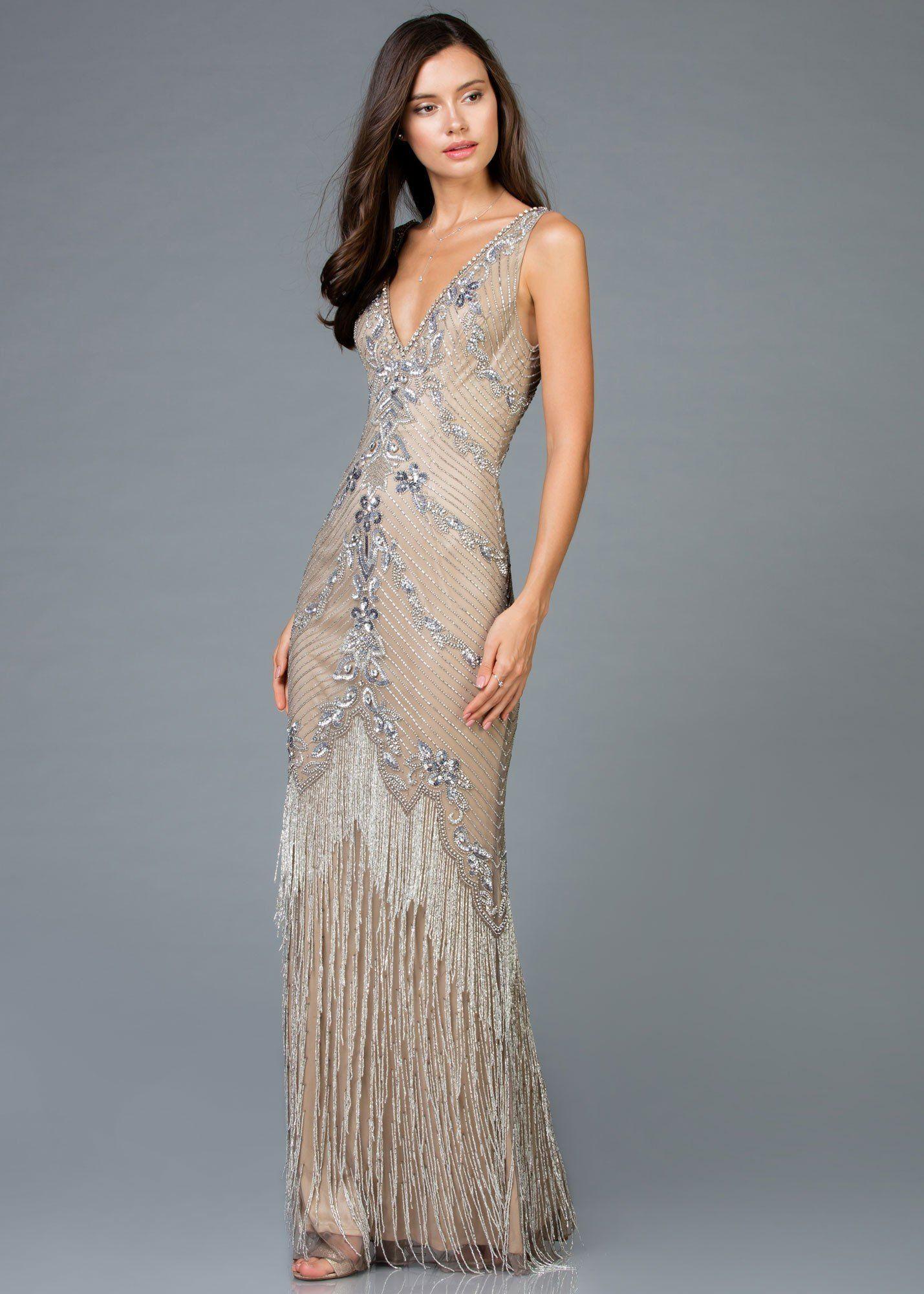 Scala 48951 Glam Fringe Evening Gown Beaded Evening Gowns Chic Evening Dress Evening Dresses [ 2000 x 1429 Pixel ]