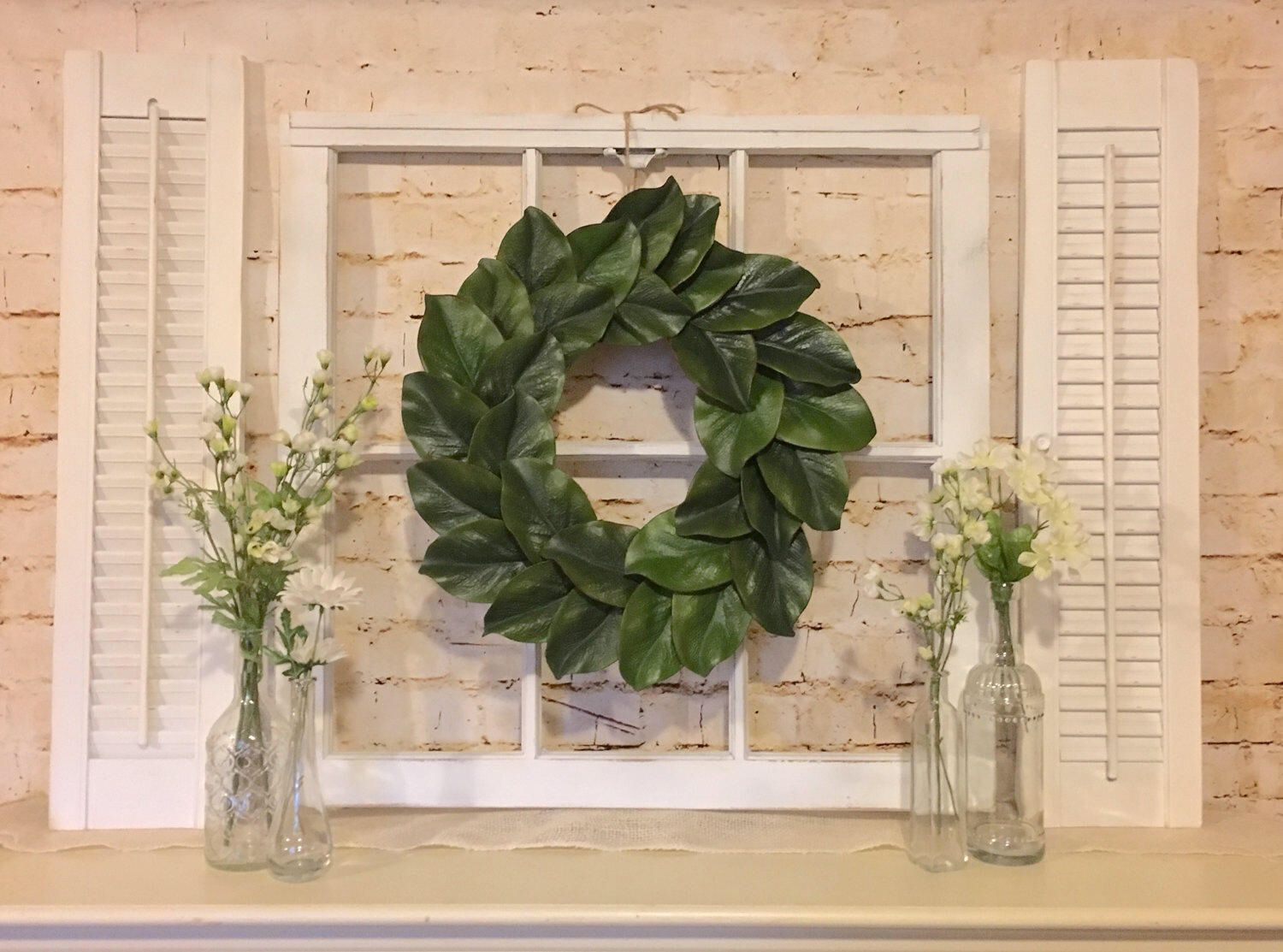 Old window frame shutters magnolia wreath farmhouse for Decorating with old windows and shutters