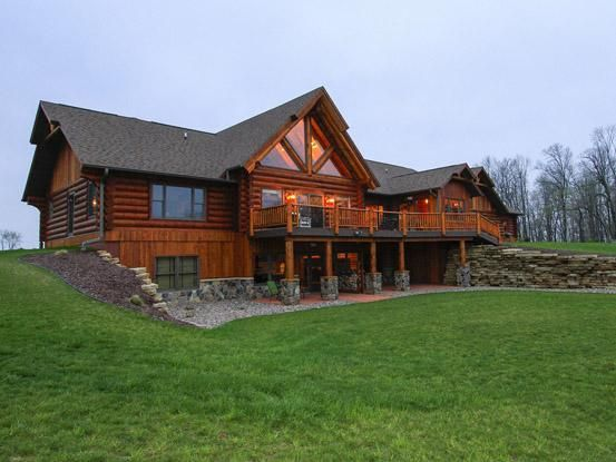Backside Of The Starview Log Home Basement House Plans Building A House House Plans