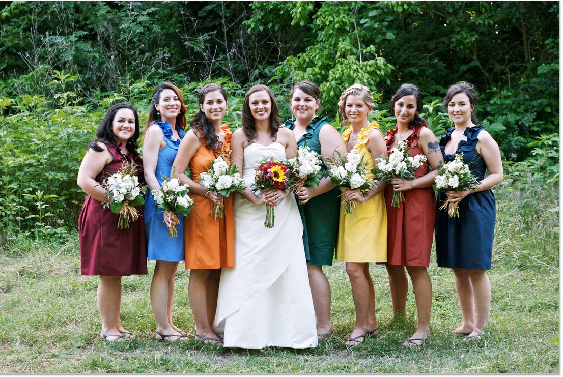Independent designer real wedding 7 bridesmaids dresses colors independent designer real wedding 7 bridesmaids dresses colors of the rainbow by amanda ombrellifo Choice Image