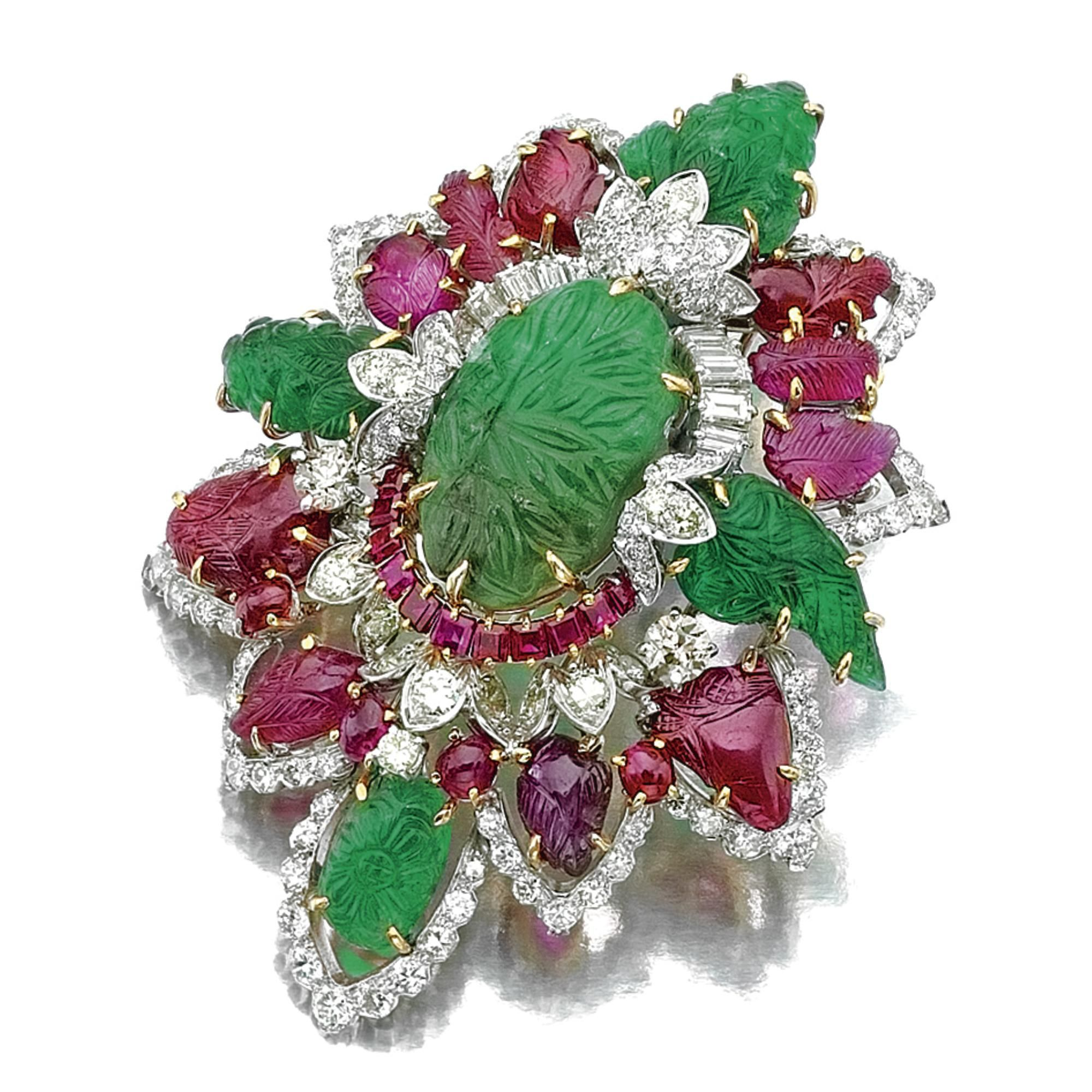 David Webb Ruby, Emerald, and Diamond Brooch Mounted in White and Yellow Gold.