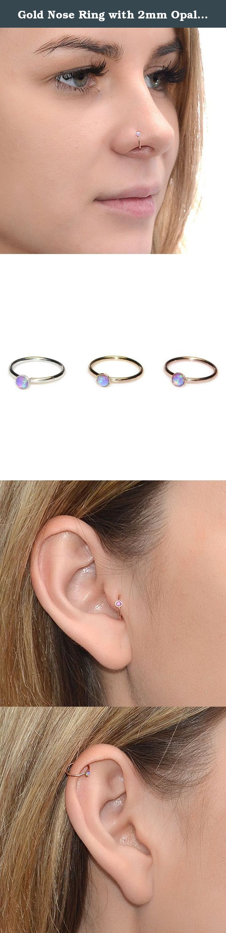 Nose piercing without jewelry  Gold Nose Ring with mm Opal g  Daith Earring Rook Earring