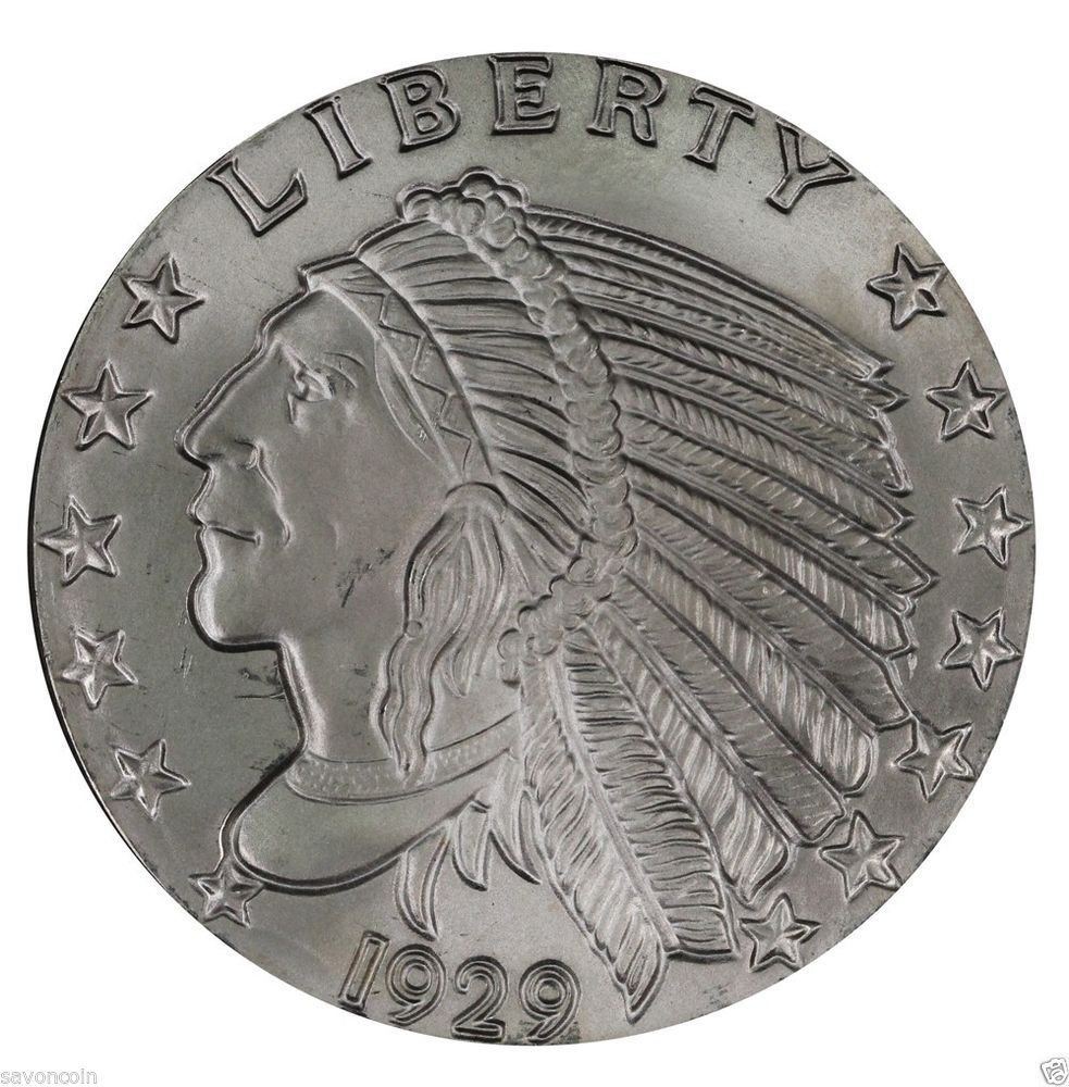 1929 5 Oz Troy Silver Indian Liberty Design Round 999 Fine Silver Coin Silver Coins Silver Bullion Bullion