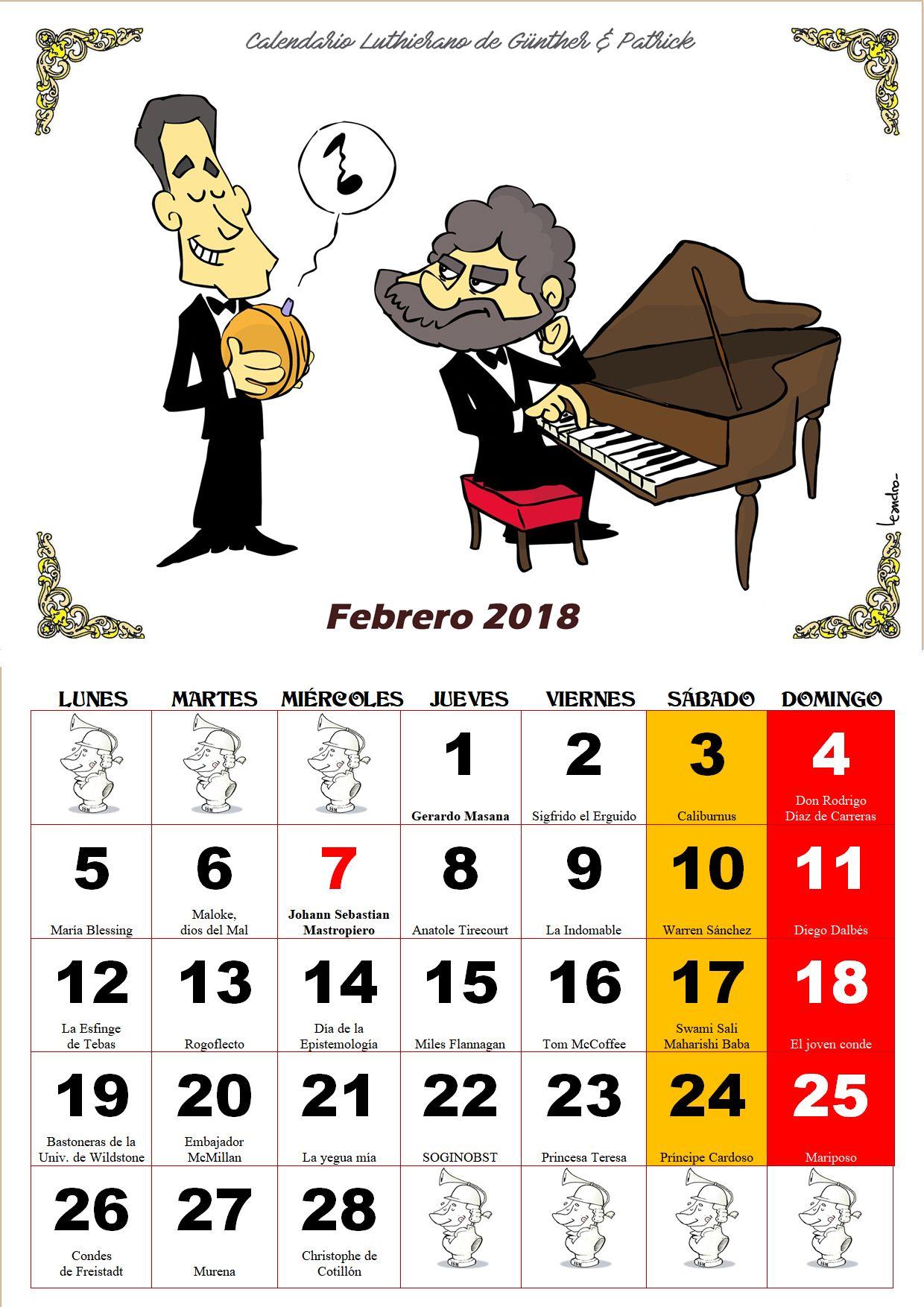 Febrero - Calendario Les Luthiers 2018