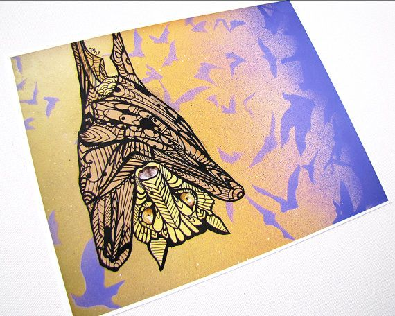 Bat Tangle Art Print Of Original Acrylic Painting 68lb Satin Paper Er Finish Archival Ink And Each Is A Limited Edition 90