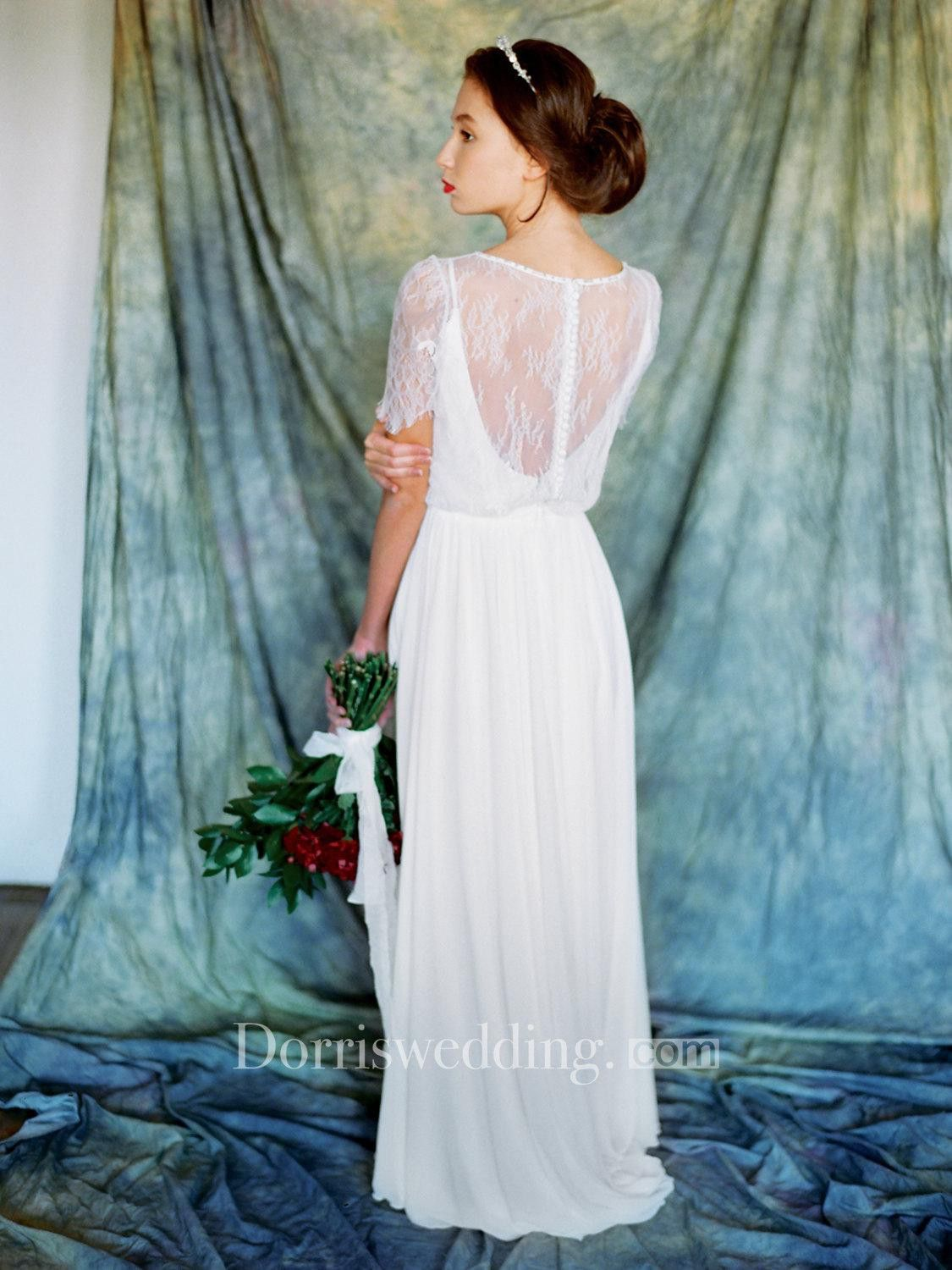 Chiffon A-Line Vintage-Inspired Dress With Lace Overlay Top | Lace ...