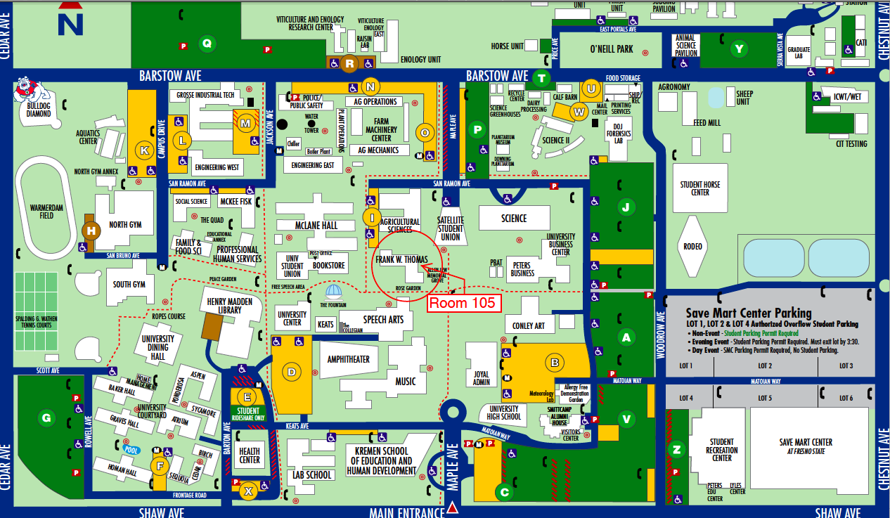Fresno State Campus Map Fresno State Map (Dengan gambar)