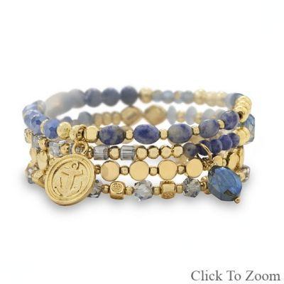 Set of 4 Gold Tone Fashion Stretch Bracelets with Blue Agate