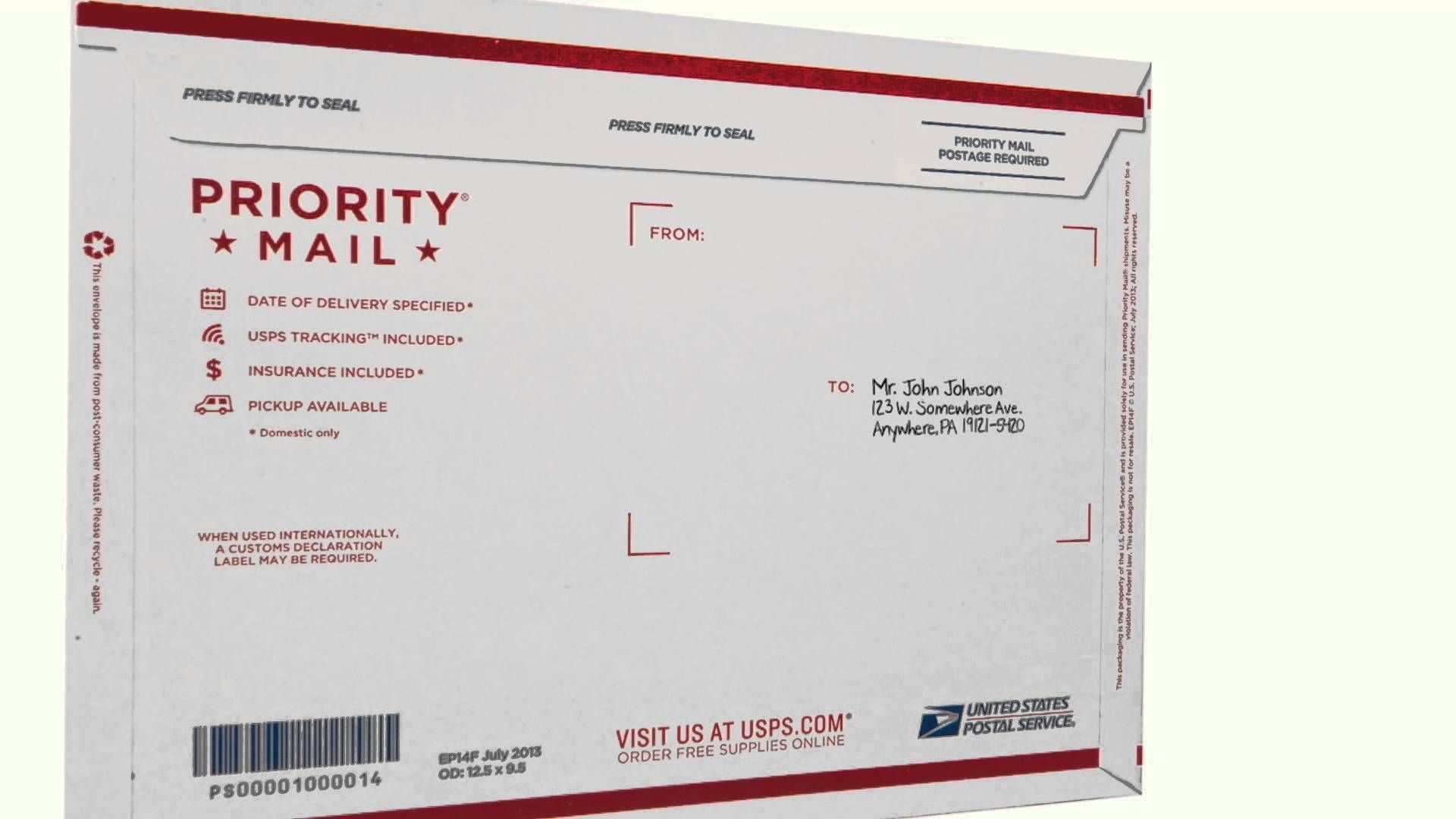 How To Address A Package Envelope Template Labels Label Templates