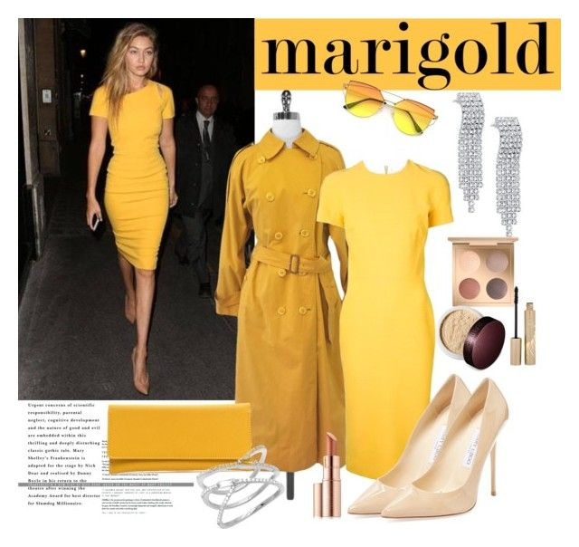 """Marigold"" by marionmeyer ❤ liked on Polyvore featuring Burberry, Victoria Beckham, Jimmy Choo, Estée Lauder, Stila, Laura Mercier and marigold"