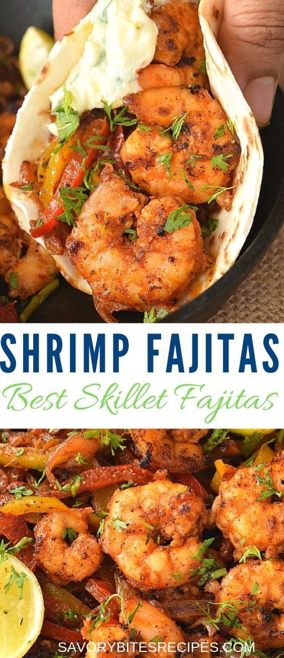 Shrimp Fajitas Recipe (Spicy Skillet Shrimp Fajitas) Easy skillet shrimp fajitas recipe is the next Tex-Mex/Mexican food you need to try ,which is not only healthy but can be oven baked or cooked in cast iron pan on stove top,choice is yours.  recipes